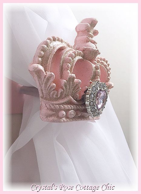 Pink Princess Glitter Heart Crown Holdbacks..Color& Finish  Choices