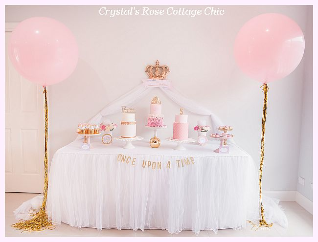 Pink Princess Party Crown Decor Wall Dessert Sweets Table