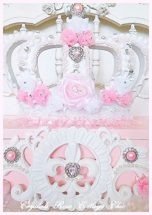 Pink Princess Fleur de Lis Bed Crown Teester Canopy..color choices
