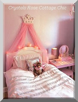 PINK PRINCESS TUTU BED CROWN CANOPY CRIB NURSERY GIRLS ROOM DECOR