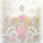 bed crown set vintage white pink roses