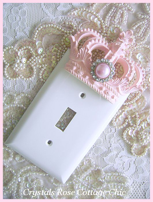 Pink Princess Crown Wall Plate Single Toggle