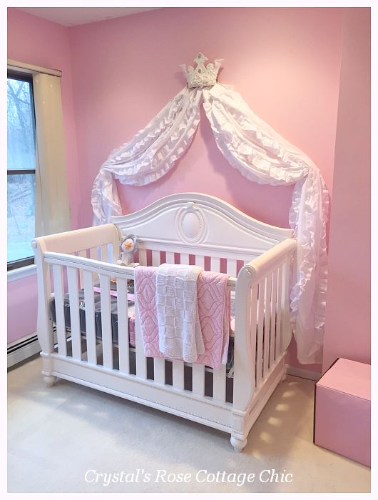 Pink and White Princess Bed Crown Canopy for Crib Nursery Decor