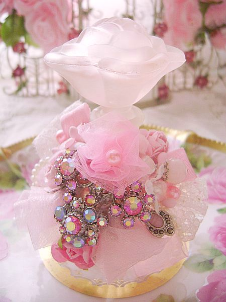 Romantic Pink Rose Bejeweled Perfume Bottle