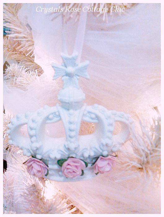 Pink Rose Bella Cross Crown Ornament...Free Shipping
