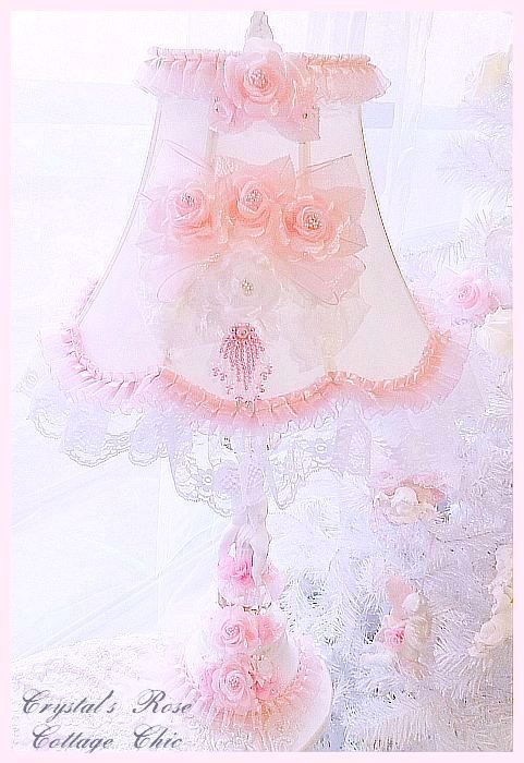 Vintage Lamp with Shabby Pink Roses and Crystals