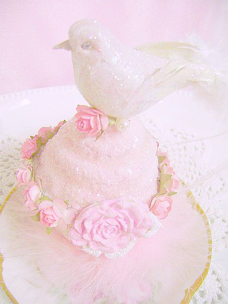 Pink Rose Cupcake Bird Ornament