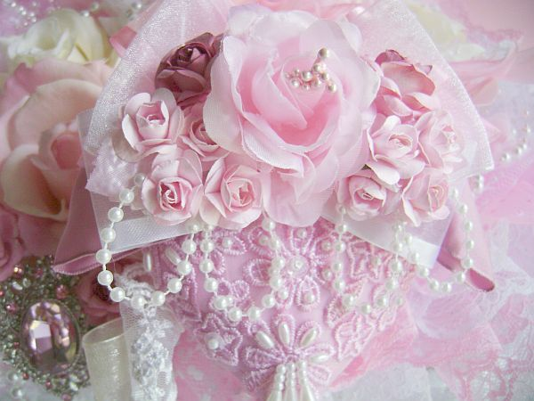 Pink Rose Heart Ornament