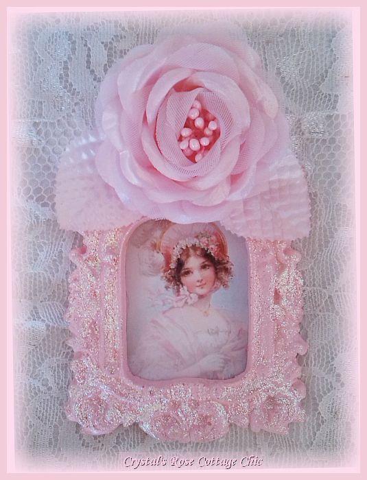 Pink Victorian Girl Glitter Frame
