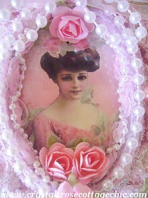 Victorian Lady in Pink Frame Ornament