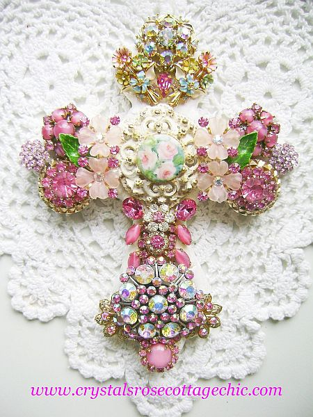 Pink Vintage Bejeweled Cross