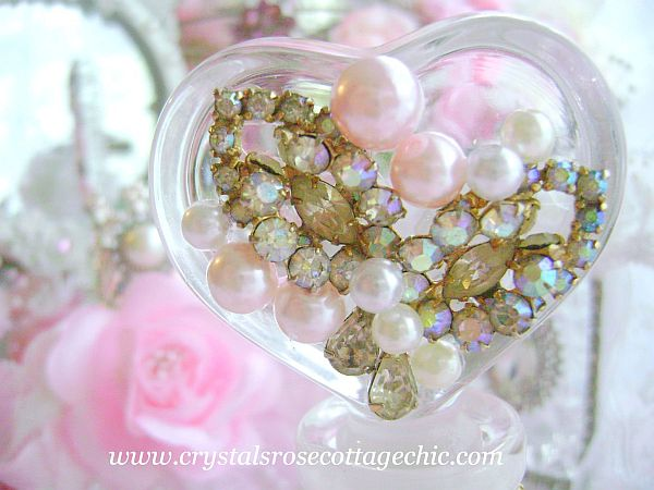 Shabby Vintage Chic Heart Perfume Bottle