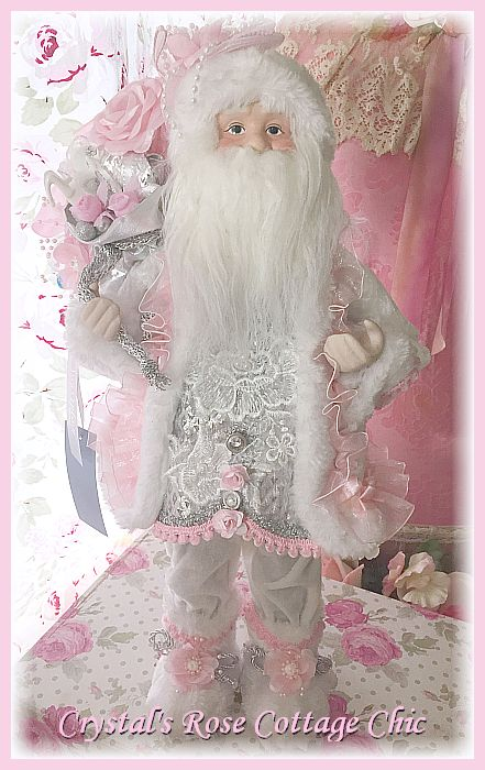 Pink and White Rose Santa 20""