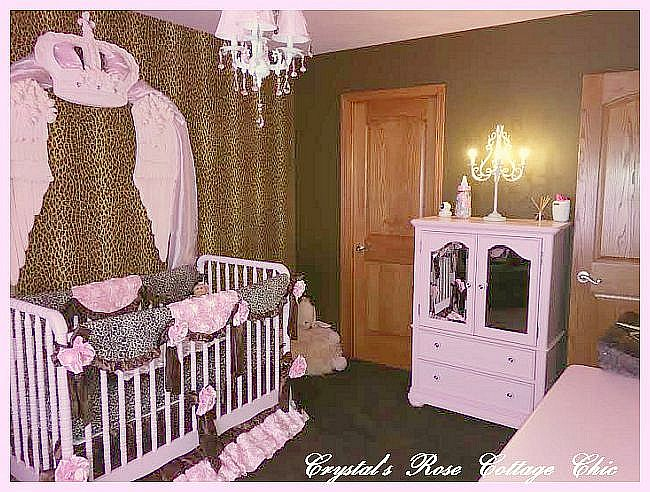 Pink and leopard print nursery crib bedding bed crown canopy with shabby chic pink rose wings