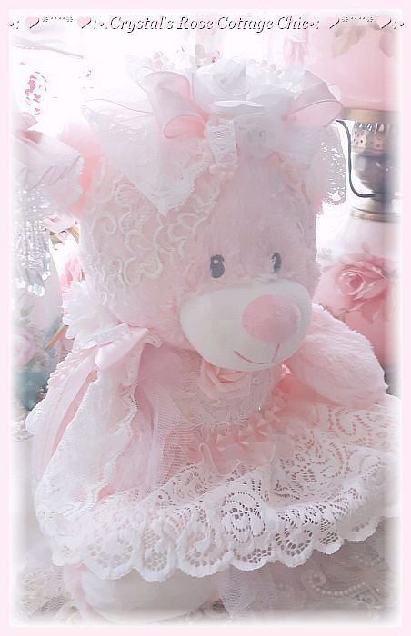 Sweet Shabby Pink Bear with White Lace and Roses..Free Shipping