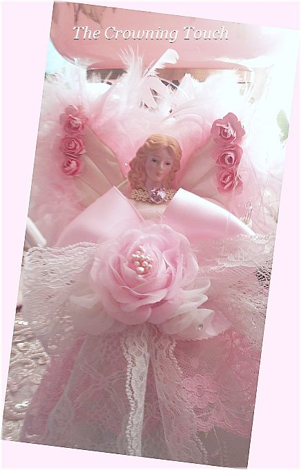 Pink Rose Shabby Chic Light Up Angel