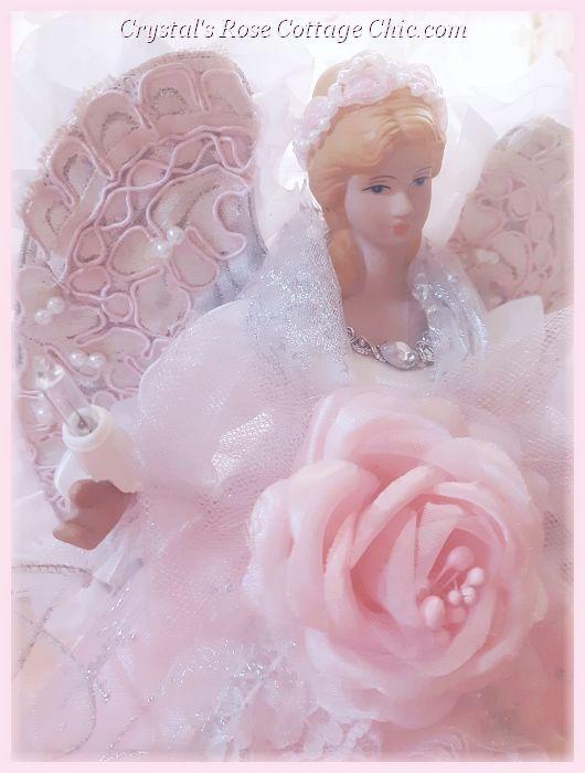 Pink Lace Ruffles Princess Angel Tree Topper