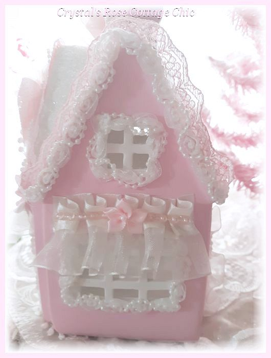 Light Up Shabby Pink Christmas Cottage with Free Tree