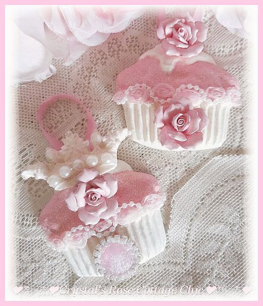 Pink Glitter Frost Cupcake Ornaments with Crown & Roses