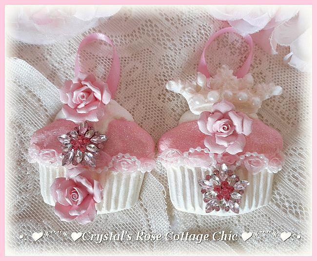 Pink Diamond Dazzle Cupcake Ornaments