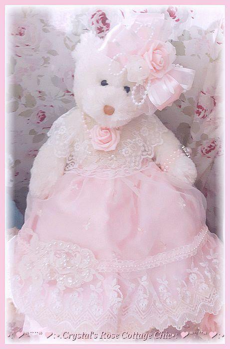 Pink Rose Victorian Bear