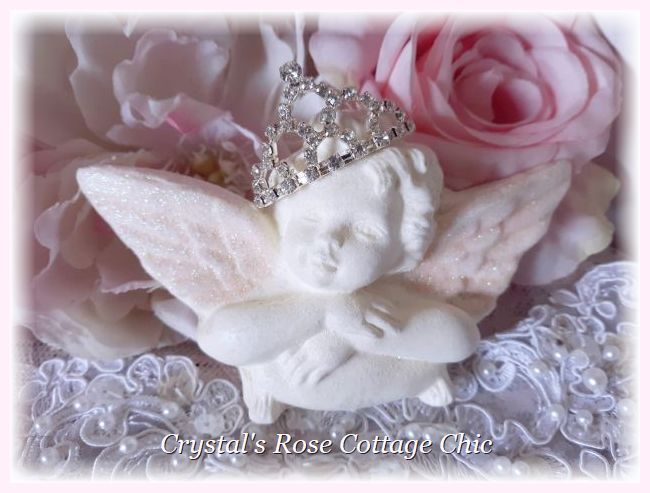 Rhinestone Crown Pink Wings Cherub Ornament