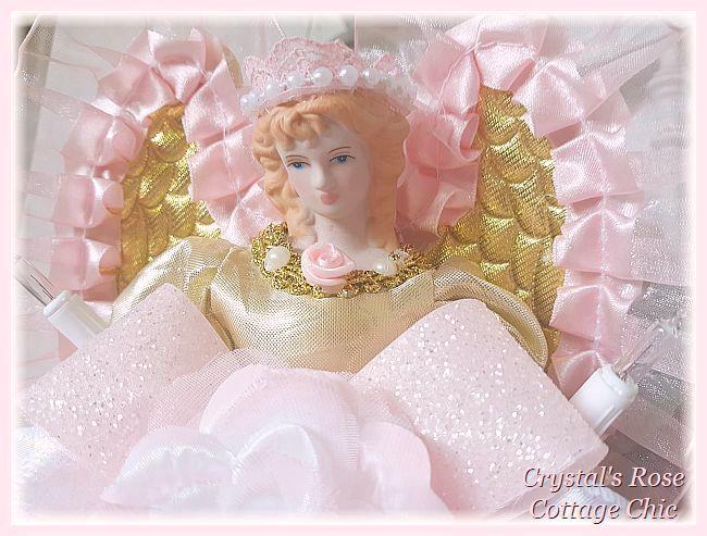 Gold & Pink Princess Angel Tree Topper