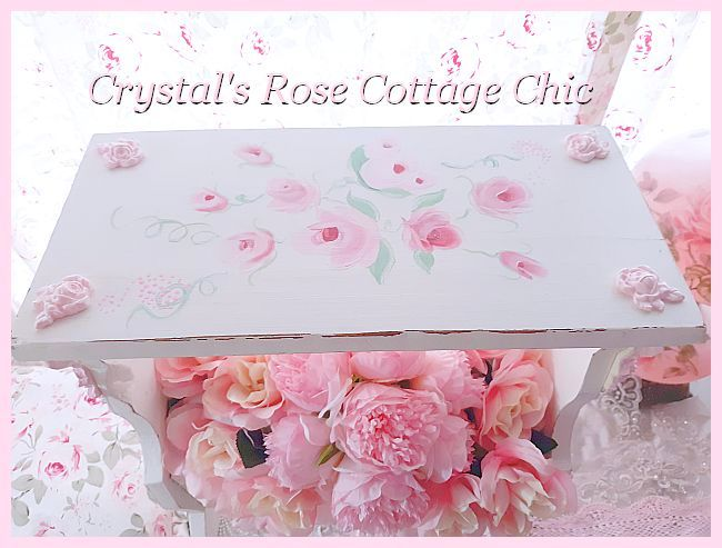 Shabby Chic Pink Rose Magazine Rack End Table