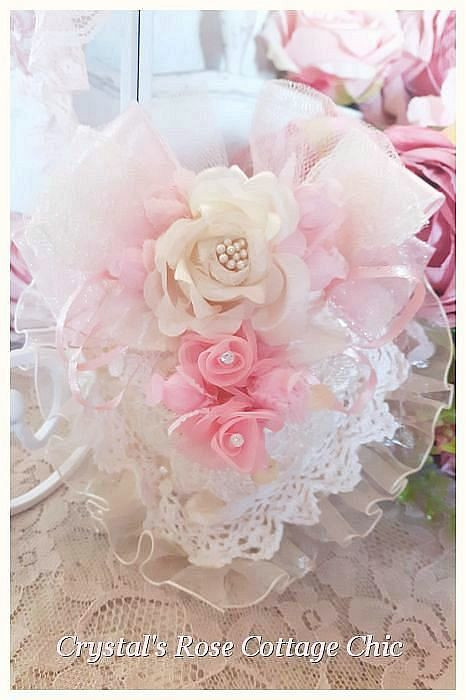 Shabby Chic Pink & Ivory Heart Sachet...Free Shipping