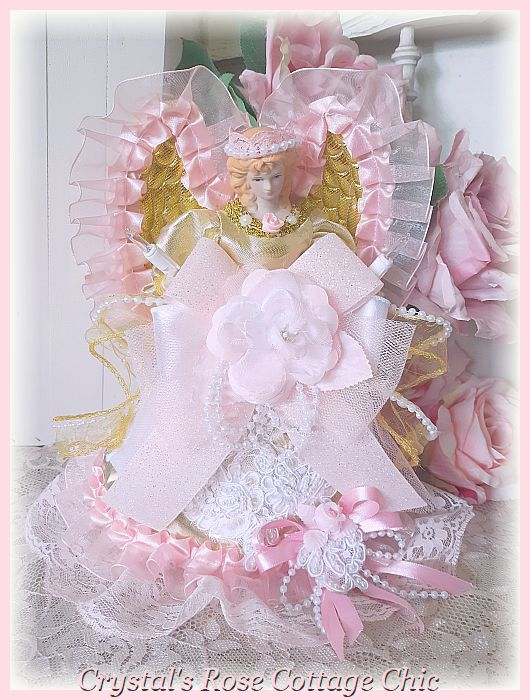 Gold & Pink Princess Angel Tree Topper