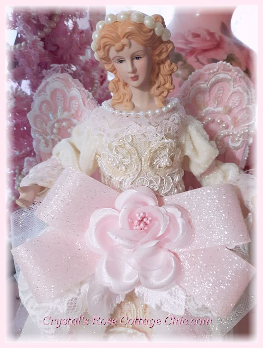 Shabby Chic Pink Princess Christmas Angel Tree Topper