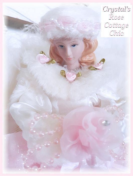 Restocked....Pretty Pink Rose and White Fur Angel Tree Topper