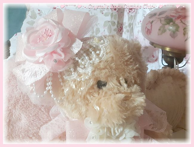 Boutique Bear Pink Rose Lace Shabby Chic