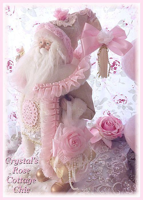 Shabby Pink Doily & Roses Santa
