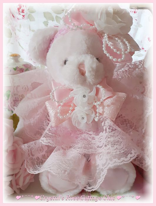 Sweet Pink Bear with Pink Lace and Pink Satin Feet