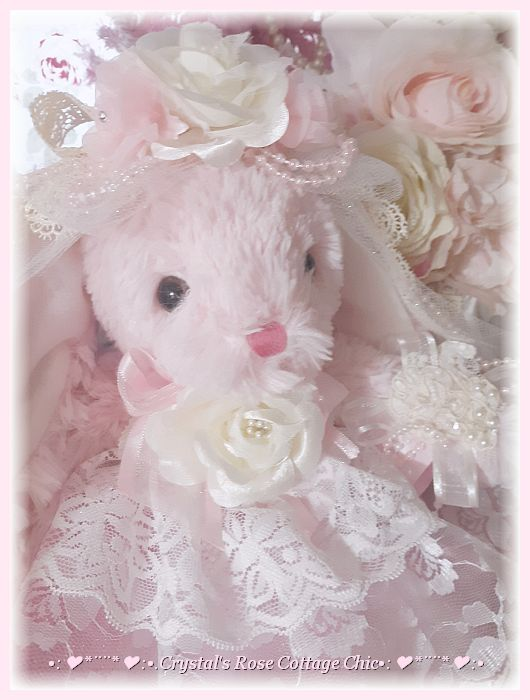 Shabby Chic Ivory Rose Pink Bunny