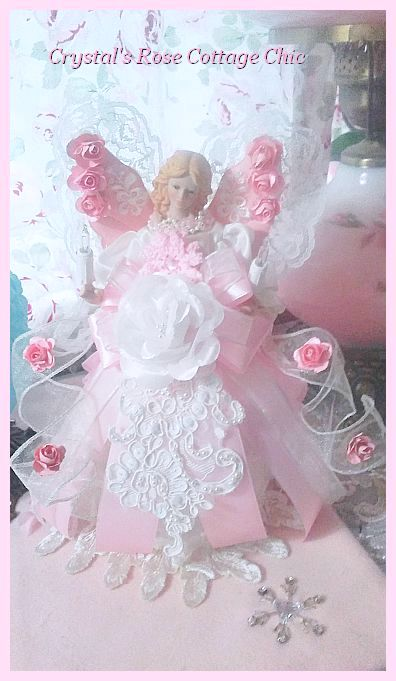 Shabby Pink Rose Wings Light Up Angel