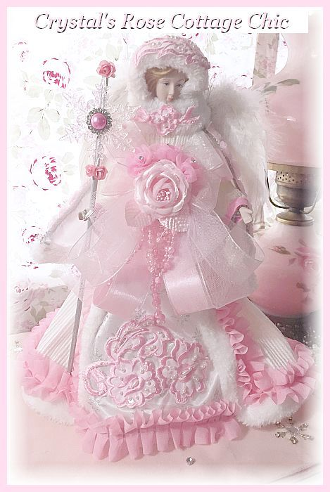Pink and White Snowflake Angel
