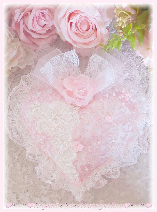 Big, Beautiful, Pink & White Lace Heart Sachet...Free Shipping