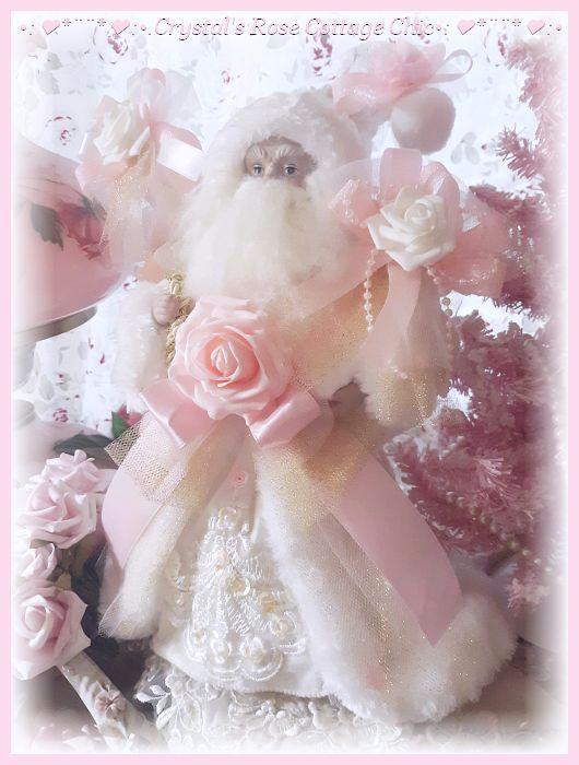 Pink Glitter Bows Santa Tree Topper