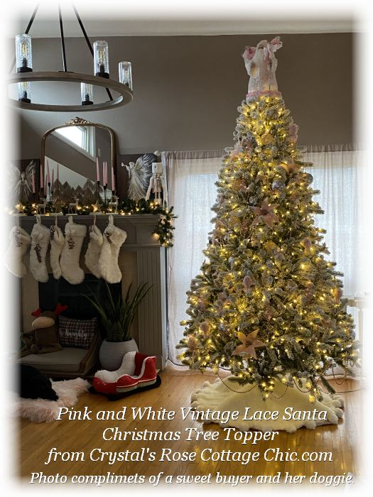 Pink Santa Christmas Tree Topper
