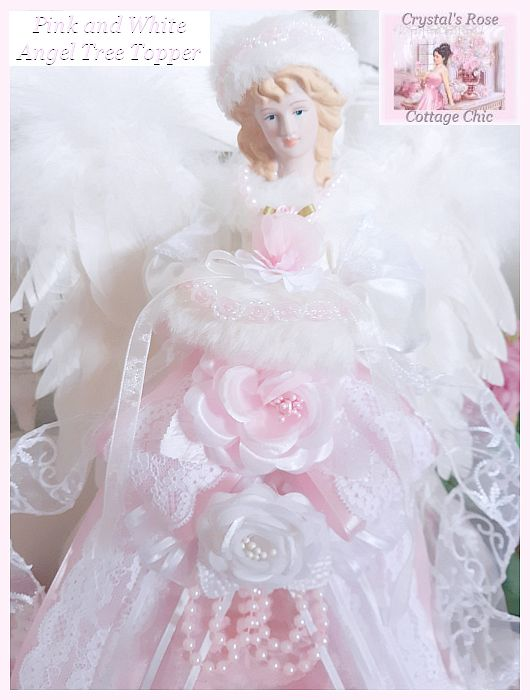 Pink and White Rose Angel Tree Topper...Restocked