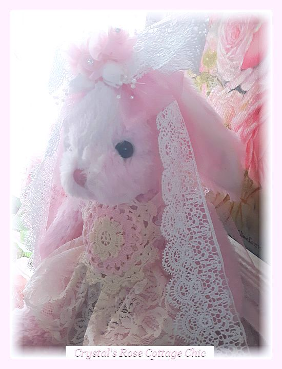 Shabby Pink Chic Bunny..Free Shipping