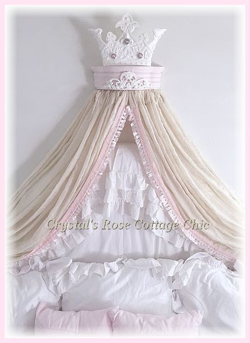 Pink & White Princess Bed Crown with Pink Fringe Canopy Curtains