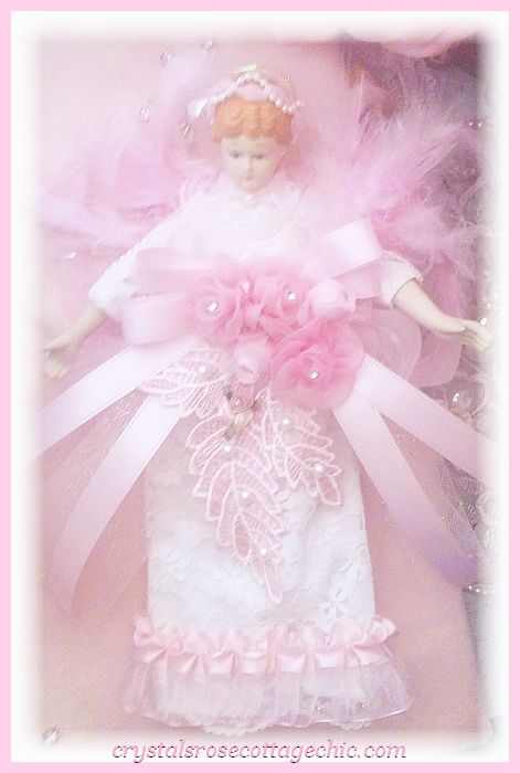 Shabby Chic Pink Angel Ornament