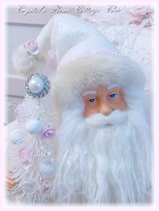Pink and White Sparkles Santa