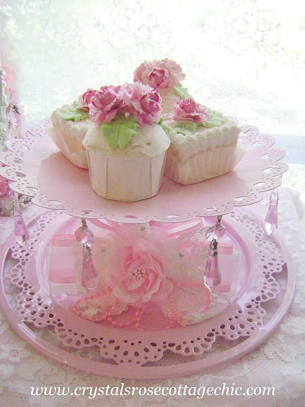 Pink Crystal Cake Stand