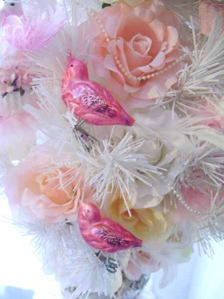 Vintage Look, Pretty Pink Glass Bird Ornaments..Krebs