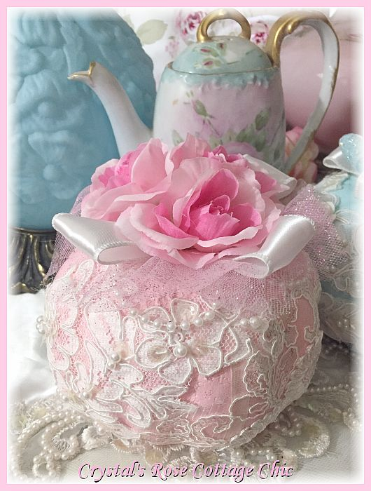 Pink roses and lace pumpkin