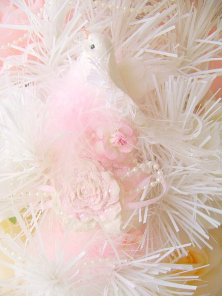 Sugar sweet, cupcake,shabby pink, bird ornament